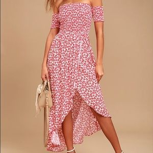 Lulus Tranquility Red Floral Print OTS Dress